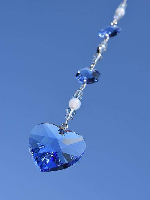 画像1: サンキャッチャー  lovely heart *blue* (1)